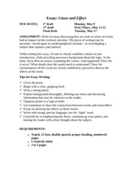 Expository Writing Cause & Effect Essay Unit With Rubric