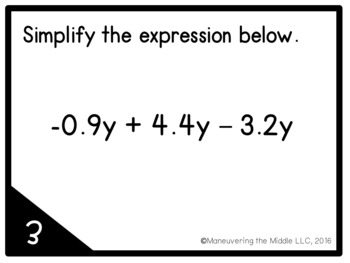 Expressions and Equations Unit Review: Task Cards by
