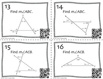 Exterior Angle and Triangle Sum Theorem Task Cards by Mrs