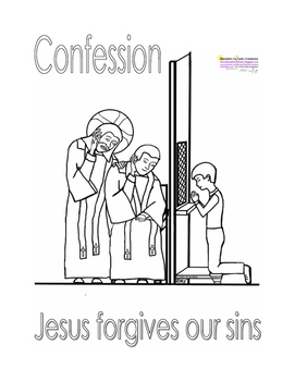 Boy going to Confession Coloring Page by Benedict Catholic