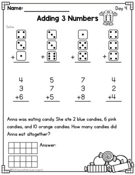 FIRST GRADE Math: Adding 3 Numbers 3 Addends Full Week of