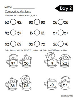 FIRST GRADE Math: Compare Numbers to 100 Practice