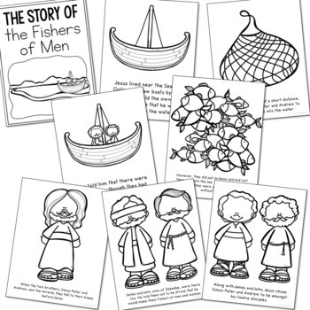 FISHERS OF MEN Bible Story Coloring Pages and Posters