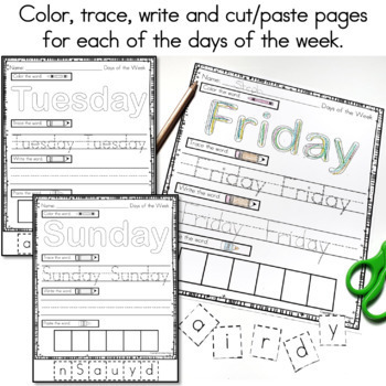 Days of the Week and Months of the Year Worksheets by