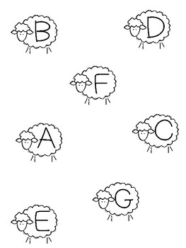FOUR Spring time Sheep Letter Matching Printable File