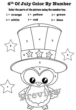 FREEBIE!!! 4th of July Color By Number by LiMish Creations