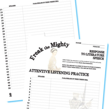 FREAK THE MIGHTY Essay Prompts & Grading Rubrics by