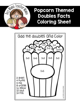FREE Add and Color Doubles Facts Coloring Page by Boy Mama