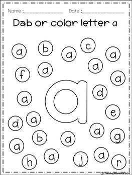 FREE Alphabet Dab (A-Z) Lower Case by Teaching RichaRichi
