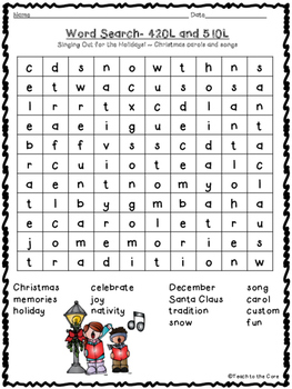 FREE! Christmas Carols and Songs Word Search by Teach to