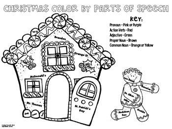 {FREE} Christmas Color By Parts of Speech by Lindsay Flood
