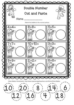 Doubles Facts Numbers Worksheet/ Free!!!! by Olivia Walker