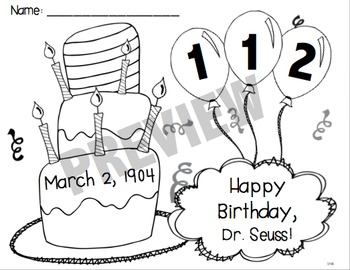 FREE Dr. Seuss Birthday Color Page for 2015-2020 by Kady