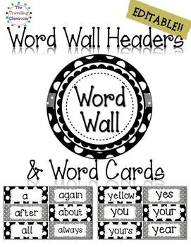 Editable Word Wall Headers & Word Cards {BLACK & WHITE