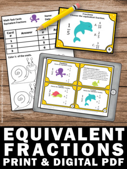 Free Equivalent Fractions Task Cards 4th Grade Math