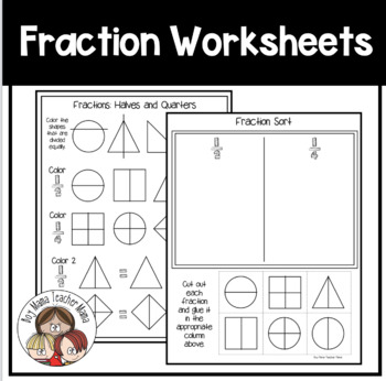 FREE Fraction Worksheets (1/2 and 1/4) by Boy Mama Teacher