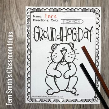 Groundhog Day Coloring Page Freebie by Fern Smith's