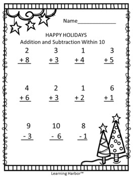 FREE Happy Holidays Addition and Subtraction Within 10