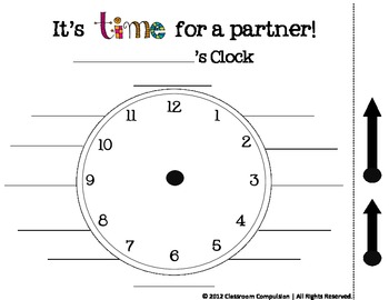 FREE It's Time for a Partner (clock work, classroom