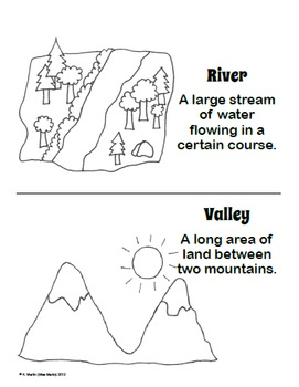 FREE Landforms Dictionary (or Coloring Book) by Miss