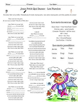 Jean Petit Qui Danse Paroles : petit, danse, paroles, FREE|Listening, Comprehension, Parties, Corps, Petit, Danse, SONG!