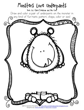 FREE Monsters Love Underpants Activity Sheet by Lil