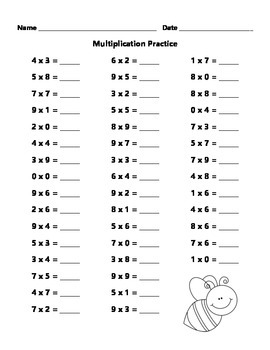 FREE Multiplication Practice Sheet by Learning is Lots of