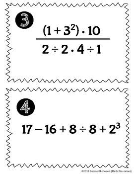 FREE! Order of Operations Task Cards (All Whole Numbers