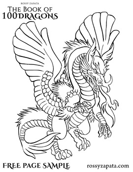 FREE Persian dragon coloring page sample by Rossy's Jungle