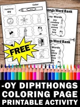 FREE Diphthongs Worksheet, oy Vowel Sounds, Word Work