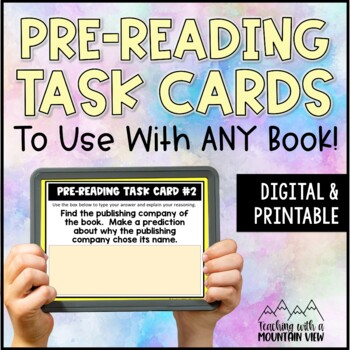 *FREE!* Pre-Reading Task Cards Mini-Set for Novel Study