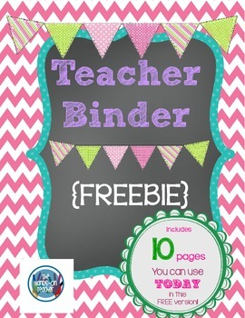 FREE Printable Teacher's Binder Chalkboard Style By