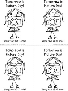 FREE Reminder for Picture Day ~ Sample of the Quick Notes