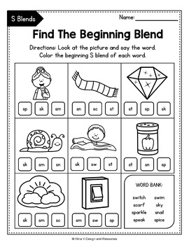 FREE S Blends Worksheets, R Blends Activities by Alina V