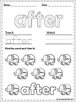 FREE Sight Words Worksheets (First Grade) by Teaching