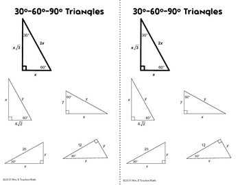 Special Right Triangles Interactive Notebook Page by Mrs E Teaches Math