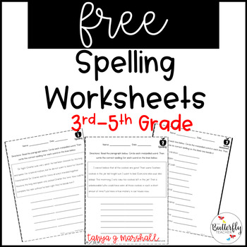 Distance Learning FREE Spelling Worksheets for 3rd-5th
