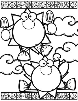 Summer Coloring Pages (FREE) {Made by Creative Clips