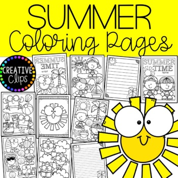 Summer Coloring Pages Writing Papers Made By Creative Clips Clipart