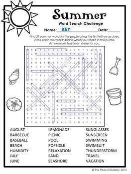FREE- Summer Word Search Challenge by The Peanut Gallery