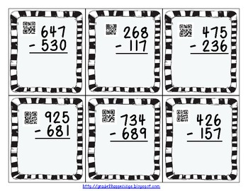 FREE Three-Digit Subtraction with Regrouping and QR codes