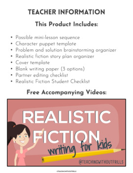 FREE! Writer's Workshop Character Puppet Template for