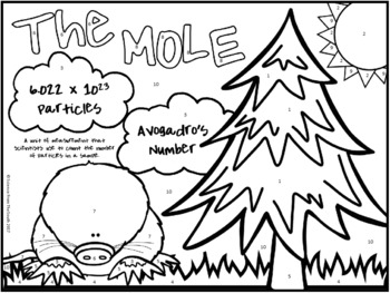 Mole Conversions and Calculations Coloring Worksheet for