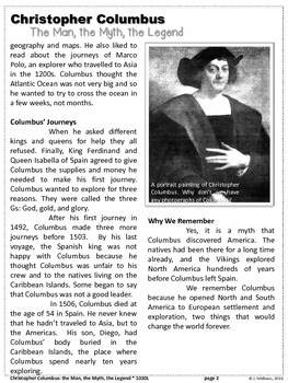 FREEBIE: Christopher Columbus Close Reading Biography by