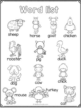 Farm Animals Vocabulary, Math and Literacy Unit FREEBIE by