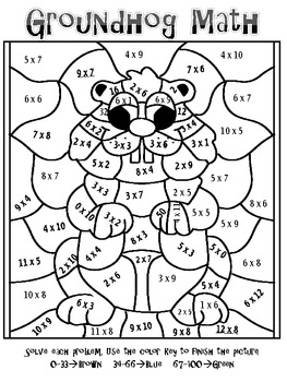 FREEBIE! Groundhog Day Multiplication Mosaic-Fun! by