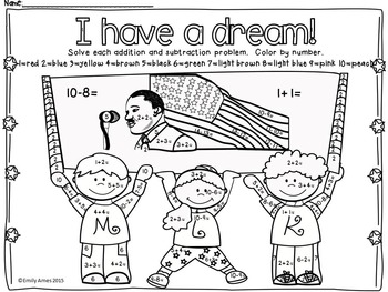 FREEBIE Martin Luther King Color by Number(Differentiated
