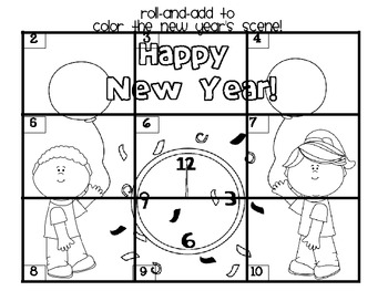 FREEBIE: New Year's Roll-and-Add to Color Game by Brenda