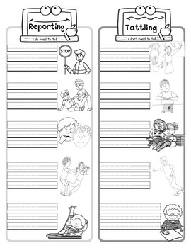 Reporting VS Tattling: Poster, Activity, & Worksheet by