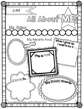 FREE All About Me Posters for Beginning and End of Year by